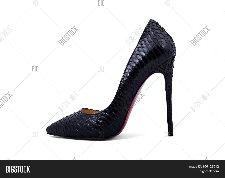 caded74e7611 Elegant Expensive Black High Heel Women Shoes On White Background
