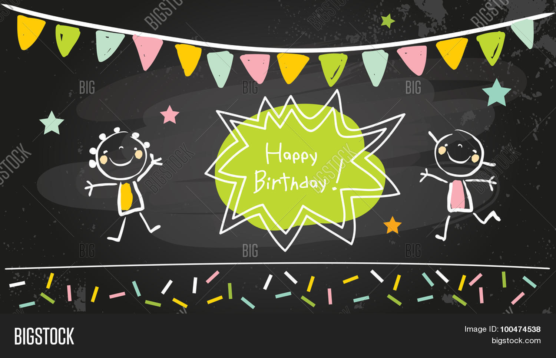 Happy Birthday Chalkboard Kids Anniversary Party Invitation Doodle Style Chalk On Blackboard Vector Illustration