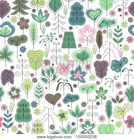 Seamless spring pattern with stylized trees. White background