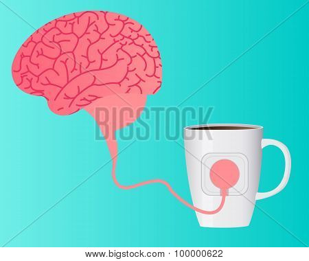 Charging brain caffeine. The human brain is a wire connected to a cup of coffee. Vector illustration