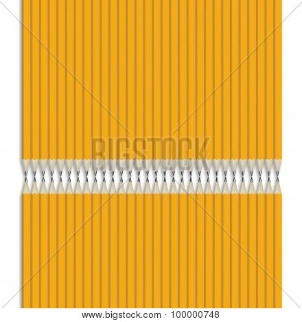 Composition from yellow pencils isolated on white background