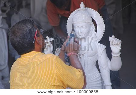 Delhi, India - November 6: Unidentified Man Works On A Statue At A Workshop On November 6, 2014 In D