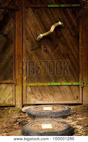 The old vintage wooden door