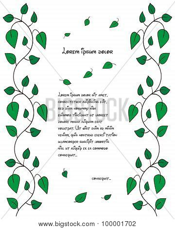 Pattern leaflet with branches and green leaves