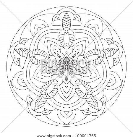 Mandala is a circular symmetric pattern to color