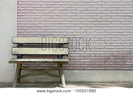 Old Bench And A Brick.