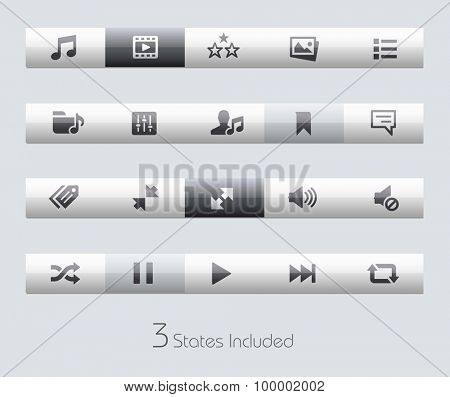 Web and Mobile 7 // Classic Bars +++ The vector file includes 3 buttons states in different layers. +++