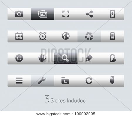 Web and Mobile 3 // Classic Bars +++ The vector file includes 3 buttons states in different layers. +++