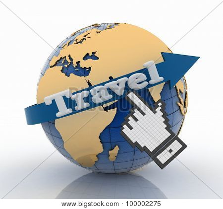 travel globe and vacation concept. 3d render