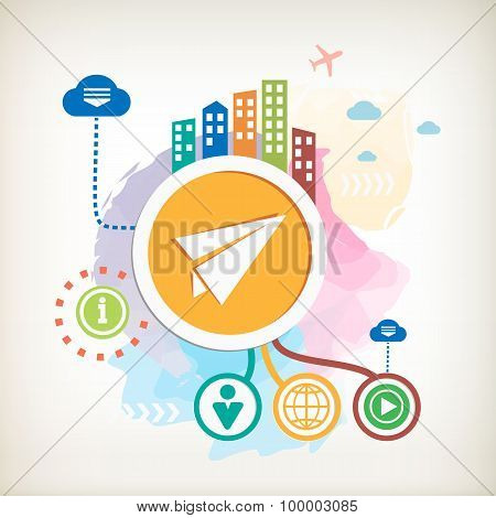 Paper Plane Sign And City On Abstract Colorful Watercolor Background