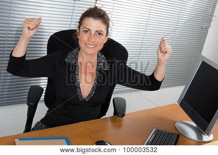 An Elegant Business Girl Happy