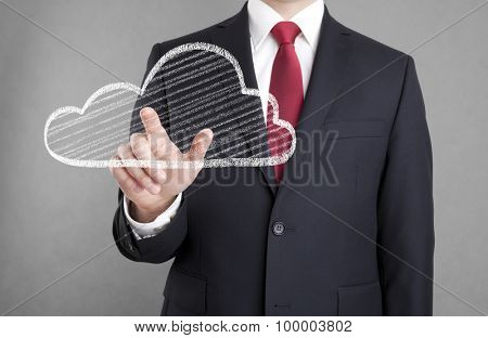 Businessman touching a cloud drawn with chalk