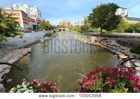 Reno, Usa - August 12: Apartment Buildings Along Truckee River On August 12, 2014 In Reno, Usa. Reno