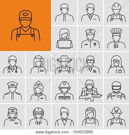 Different professions avatars outline vector icons