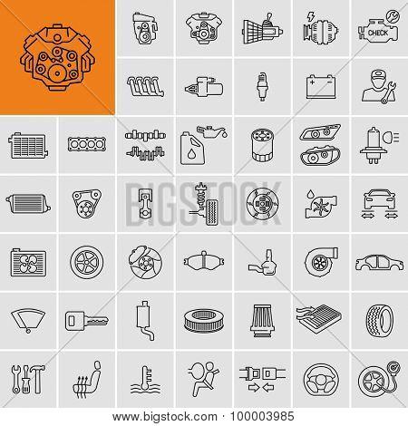 Vector car parts set outline icons