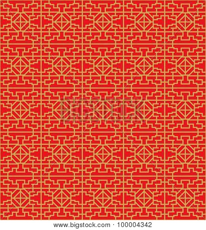 Golden seamless Chinese window tracery lattice diamond geometry line.