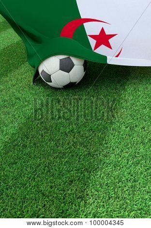 Soccer Ball And National Flag Of Algeria,  Green Grass