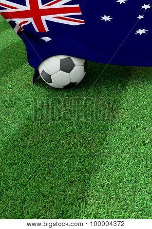 Soccer Ball And National Flag Of Australia,  Green Grass