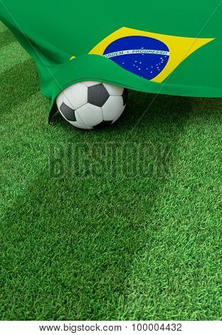 Soccer Ball And National Flag Of Brazil,  Green Grass