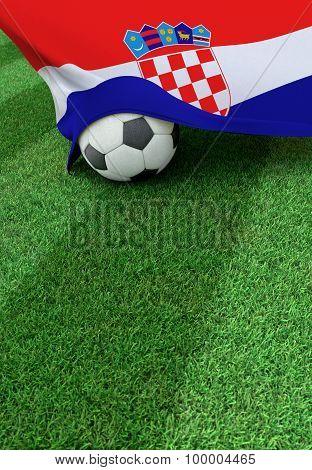 Soccer Ball And National Flag Of Croatia,  Green Grass