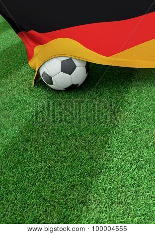 Soccer Ball And National Flag Of Germany,  Green Grass