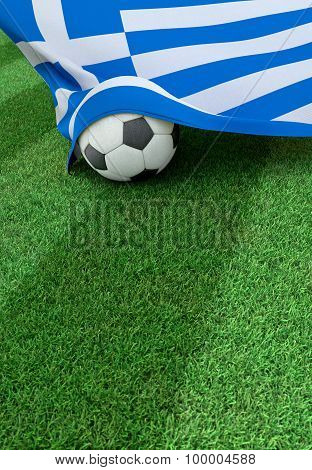 Soccer Ball And National Flag Of Greece,  Green Grass