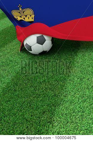 Soccer Ball And National Flag Of Lichtenstein,  Green Grass