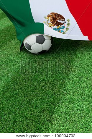 Soccer Ball And National Flag Of Mexico,  Green Grass