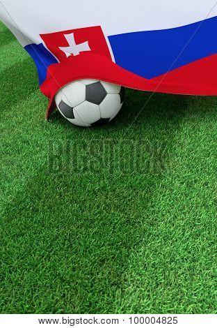 Soccer Ball And National Flag Of Slovakia,  Green Grass