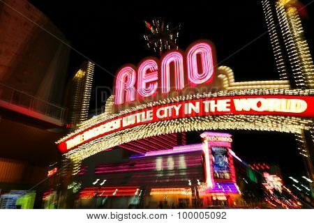 Reno, Usa - August 12: Reno Sign Over Virginia Street At Night (shot With Artistic Blur Technique) O