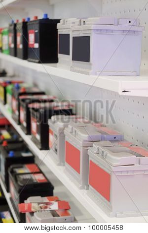 shelves in an auto parts store with storage cells