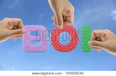 Hand Arrange Alphabet Boi Of Acronym Board Of Investment Of Thailand.