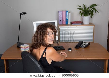 Woman At Work Happy To Work