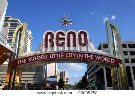 "Reno, Usa - August 12: ""the Biggest Little City In The World"" Sign Over Virginia Street On August 12"