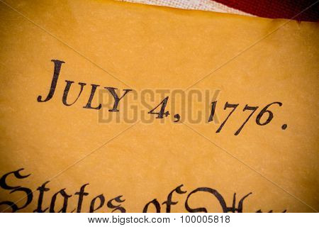 United States Declaration of Independence with vintage flag.  July 4th.