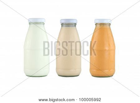 Milk Glass Bottle Isolated On White.