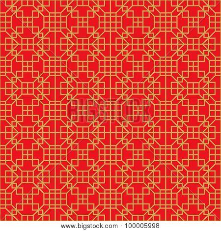 Golden seamless Chinese window tracery lattice square geometry line.