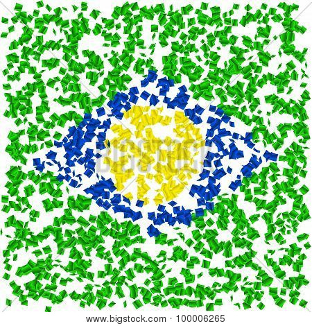 Party confetti pattern. brazil flag. Vector