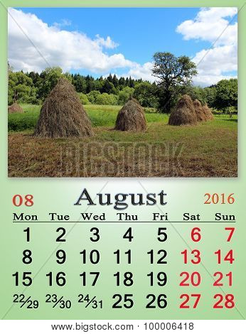 Calendar For August 2016 With Stack Of Hay