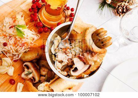 Mushroom Pot-Pie on Christmas table