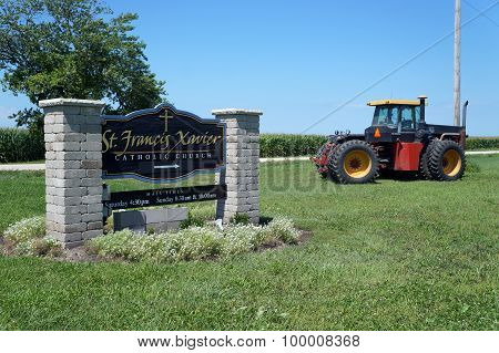Church Sign and Tractor