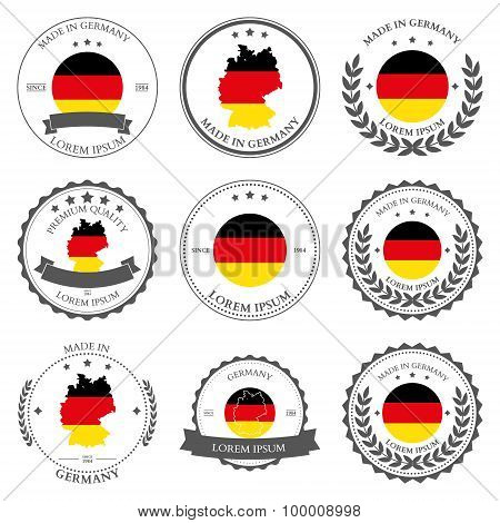 Made in Germany, seals, badges. Vector illustration