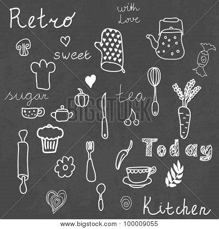 Vintage kitchen Set on Chalkboard. Design elements