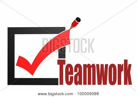 Check Mark With Teamwork Word