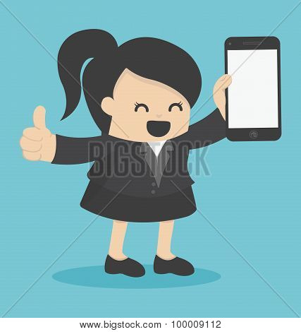 Business Woman Showing Smartphone