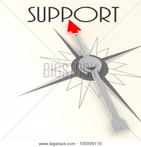 Compass With Support Word