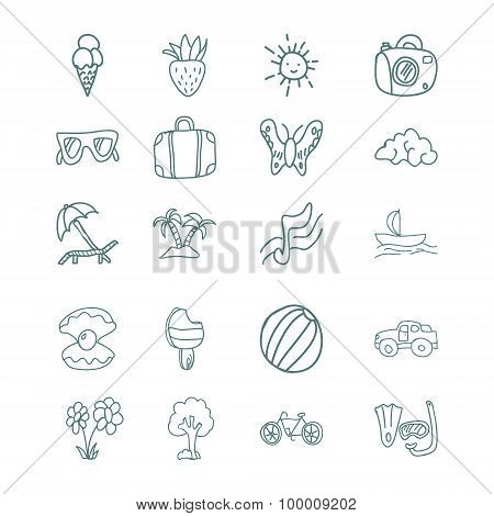 Hand draw vector icons set. summer vacation