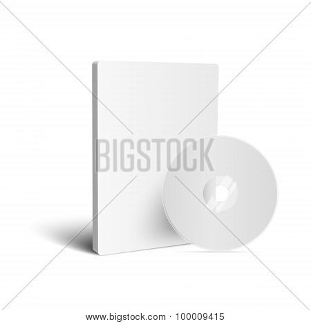 Realistic Case for DVD Or CD Disk with DVD Or CD Disk. Vector