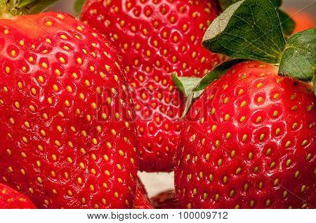 Strawberries up close