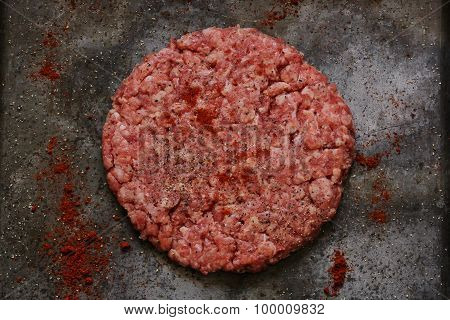 Hamburger patties ready for cooking